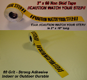 CAUTION WATCH YOUR STEP Non Skid Tape YELLOW / BLACK (4 Rolls)