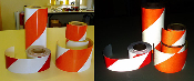 Reflective STRIPED BARRICADE TAPE Red/White or Orange/White