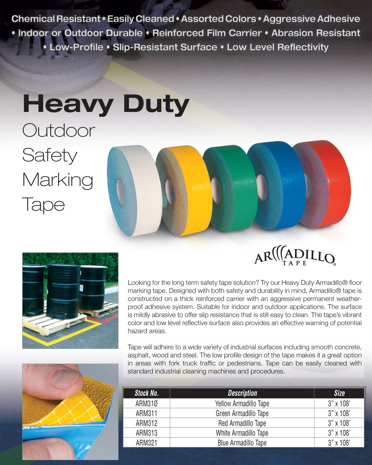 Armadillo Non Skid Reflective Warehouse Floor Tape