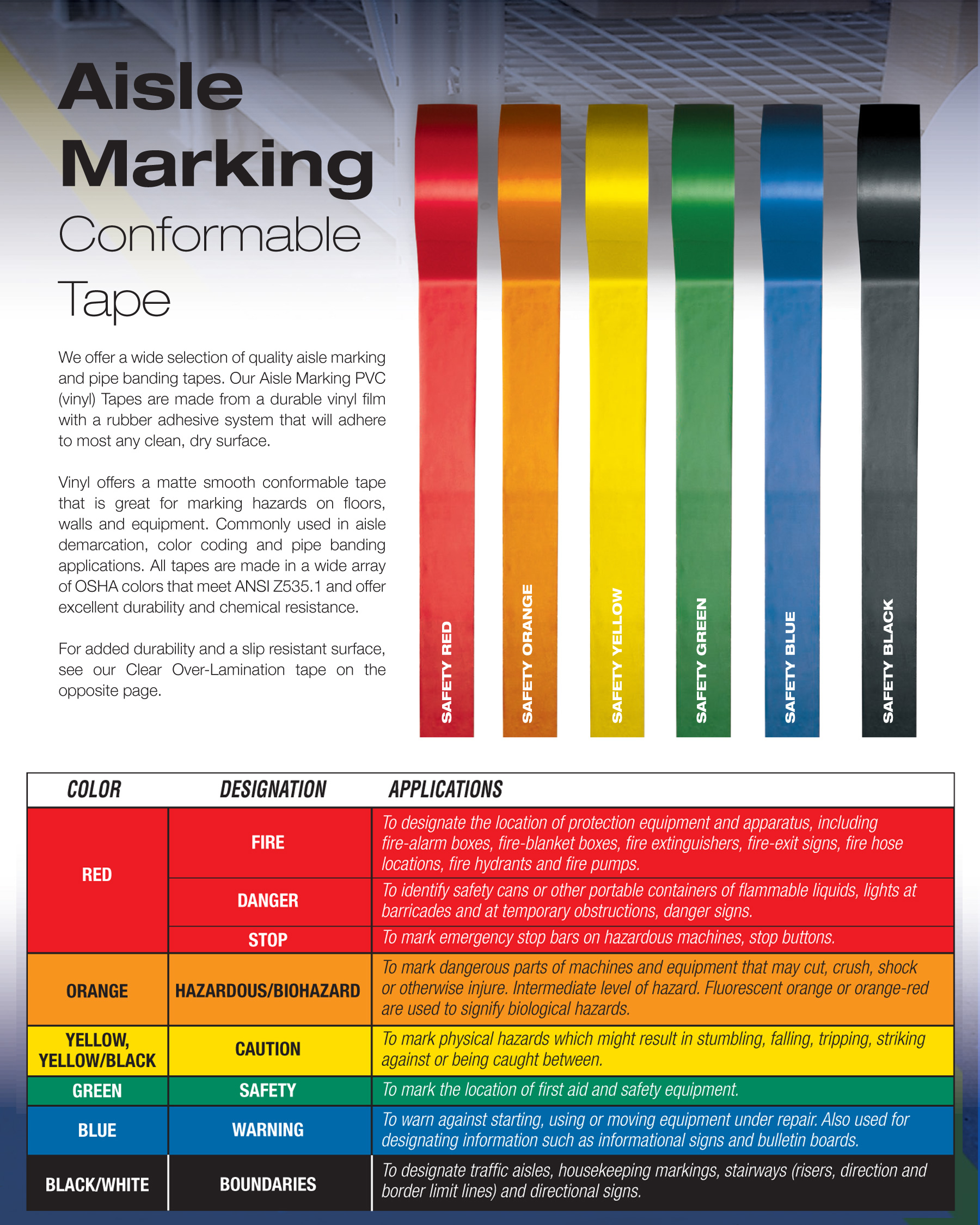 vinyl floor marking tape for warehouses