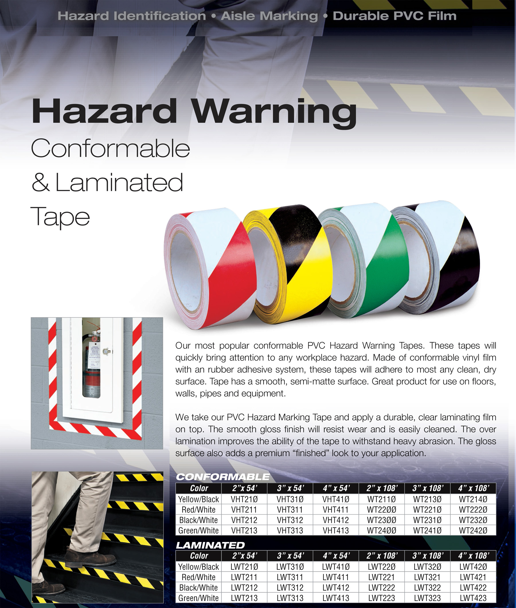 hazard striped vinyl floor tape